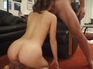 Amateur brunette wife first blowing cock on...