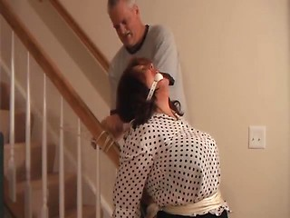 Amateur older couple does hardcore home BDSM...