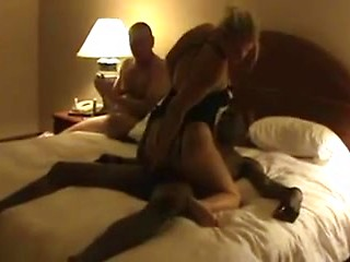 White husband watches multiple guys fuck his...