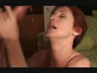 Wife with short hair sucks husband`s dick and...
